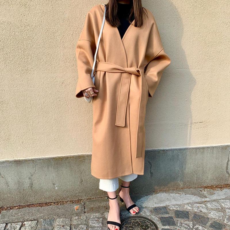 -caramel- spring long  coat