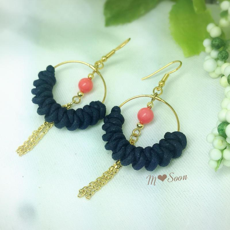 【moon− natural・mini】ピンクサンゴ  * ピアス&イヤリング