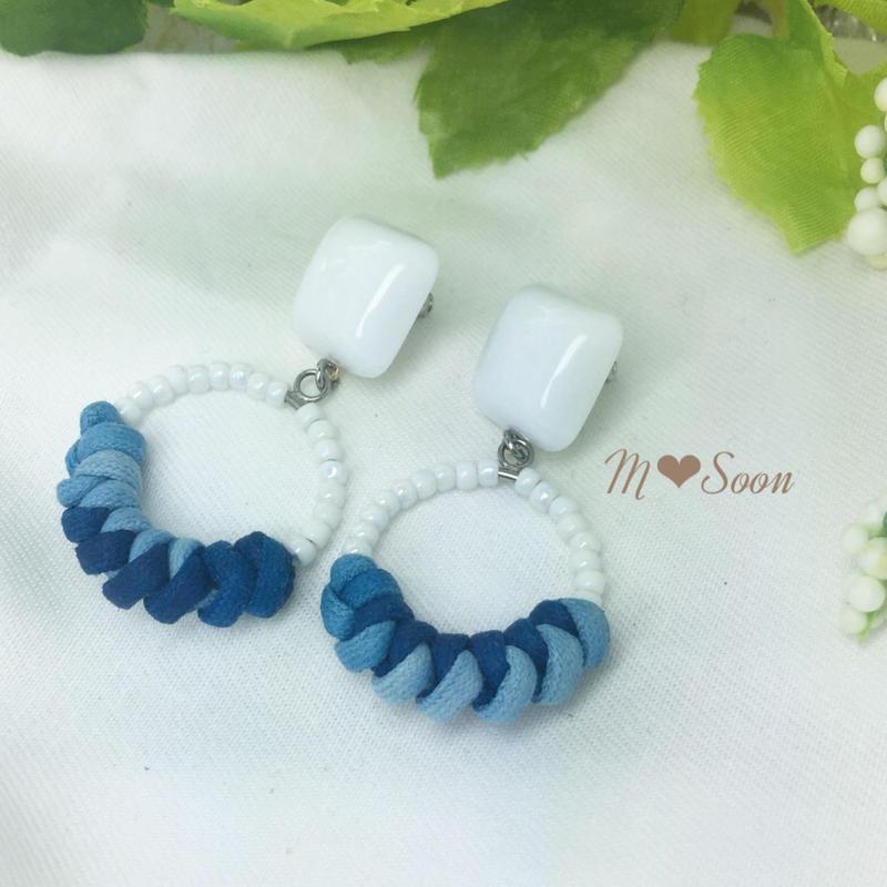 【moon−denim・mini】ホワイト * ピアス&イヤリング