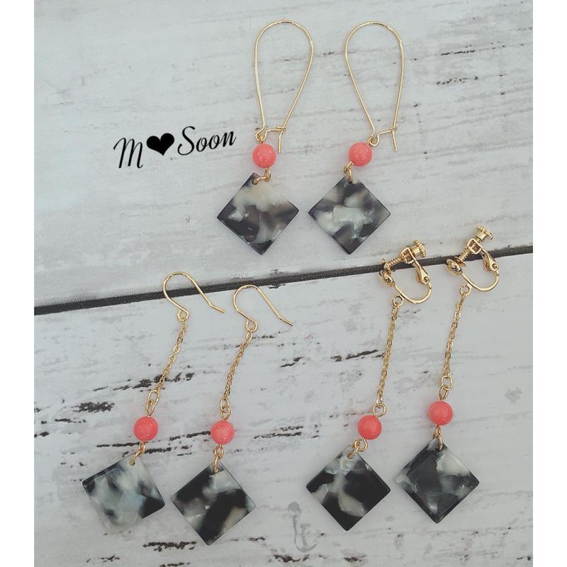 【天然石 ピンクサンゴ】フック型フープ & チェーン