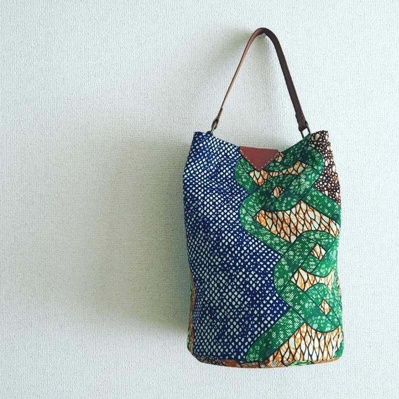 tomeri/バケツbag/アフリカンバティック生地青×緑