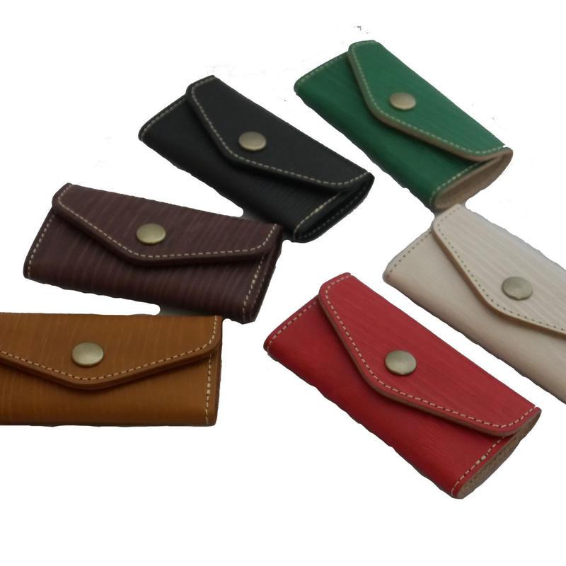木目調本革キーケース/ Wooden Leather Key Case