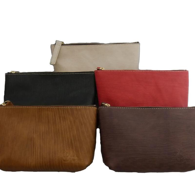 木目調本革ポーチ/ Wooden Leather Pouch