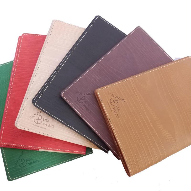 木目調本革ブックカバー M/ Wooden Leather Book Cover M