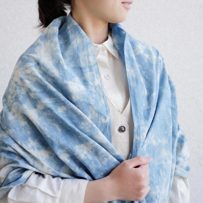 【残り1点】エシカルヘンプ平織ストール 正藍籠染め縞 浅葱色