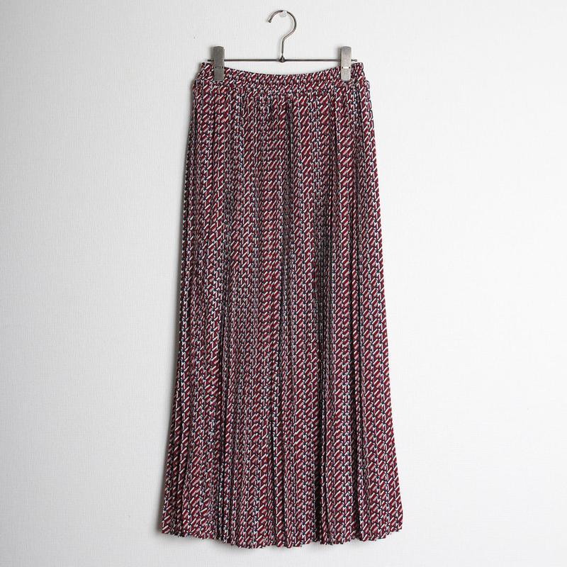 デシン幾何学柄プリーツロングスカート