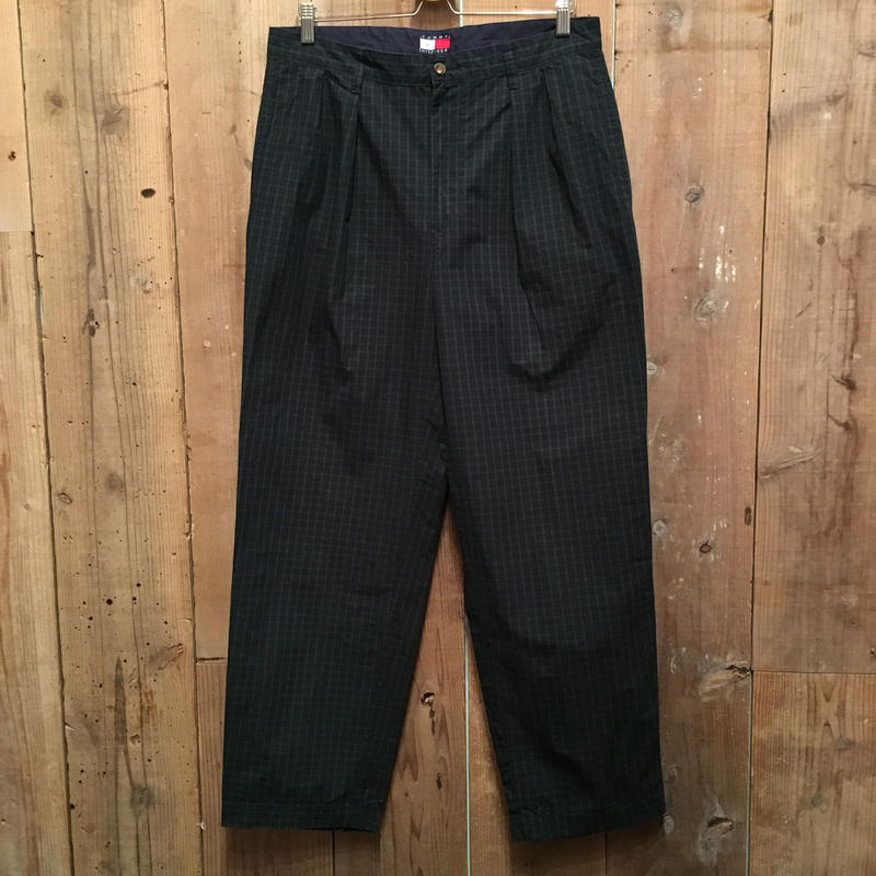 90's TOMMY HILFIGER Two Tuck Cotton Pants Black Watch W:34