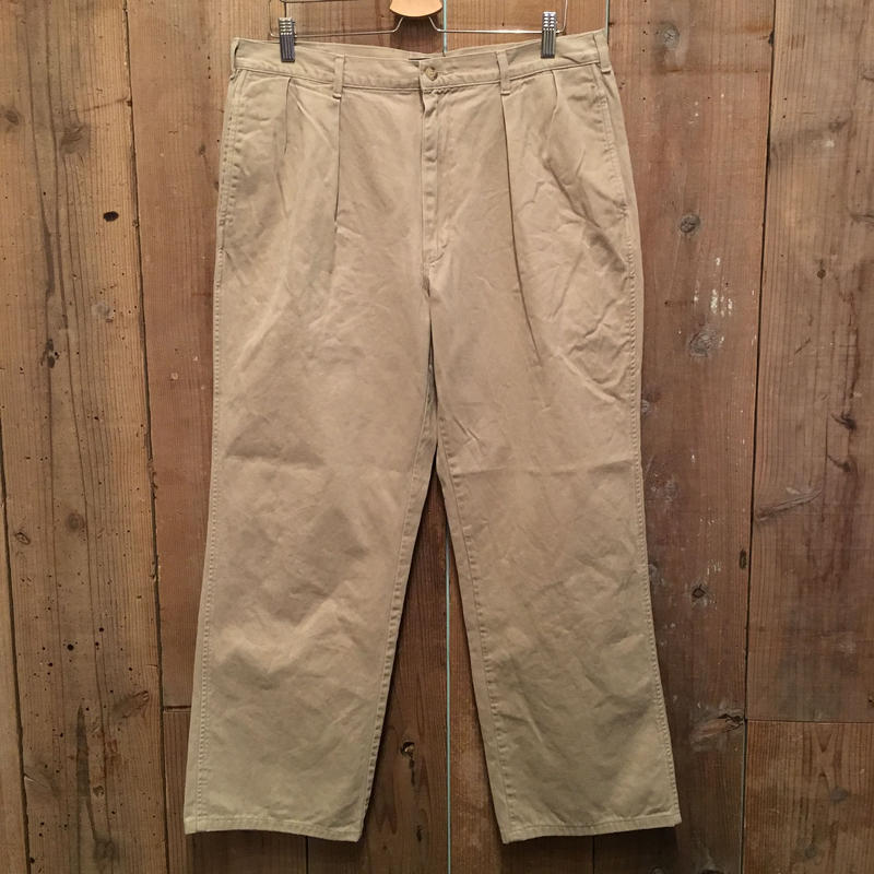 80's~ Polo Ralph Lauren Two Tuck Chino Pants KHAKI  W : 36