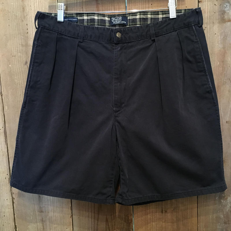 80's~ Polo Ralph Lauren Two Tuck Chino Golf Shorts W : 36