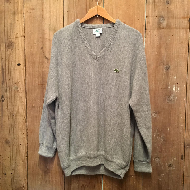 80's IZOD LACOSTE Acrylic Knit V-Neck Sweater GRAY