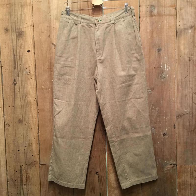90's TOMMY HILFIGER Two Tuck Cotton Pants Plaid Khaki W:33