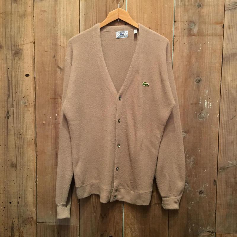 70's IZOD LACOSTE Acrylic Knit Cardigan BEIGE SIZE : L