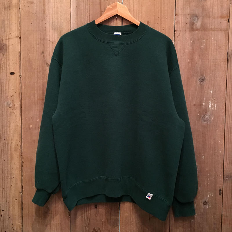 90's RUSSELL ATHLETIC Plain Sweatshirt D.GREEN