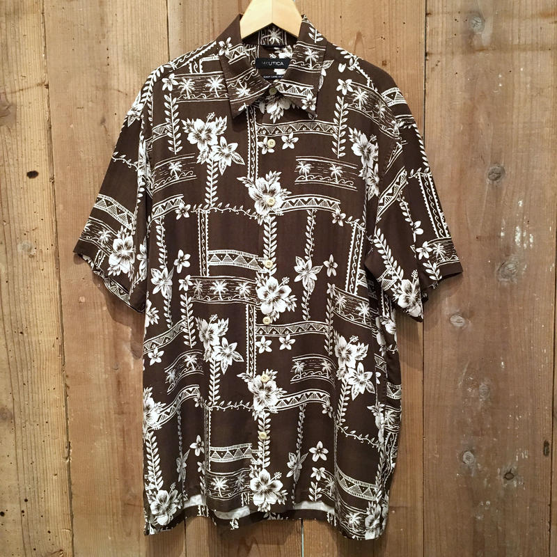 NAUTICA Silk Aloha Shirt BROWN