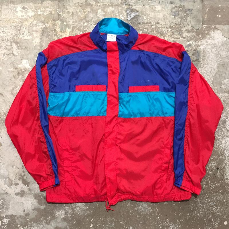 80's adidas Nylon Jacket RED×BLUE×L.BLUE