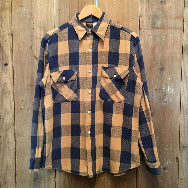 70's BIG YANK Heavy Flannel Shirt NAVY×BEIGE