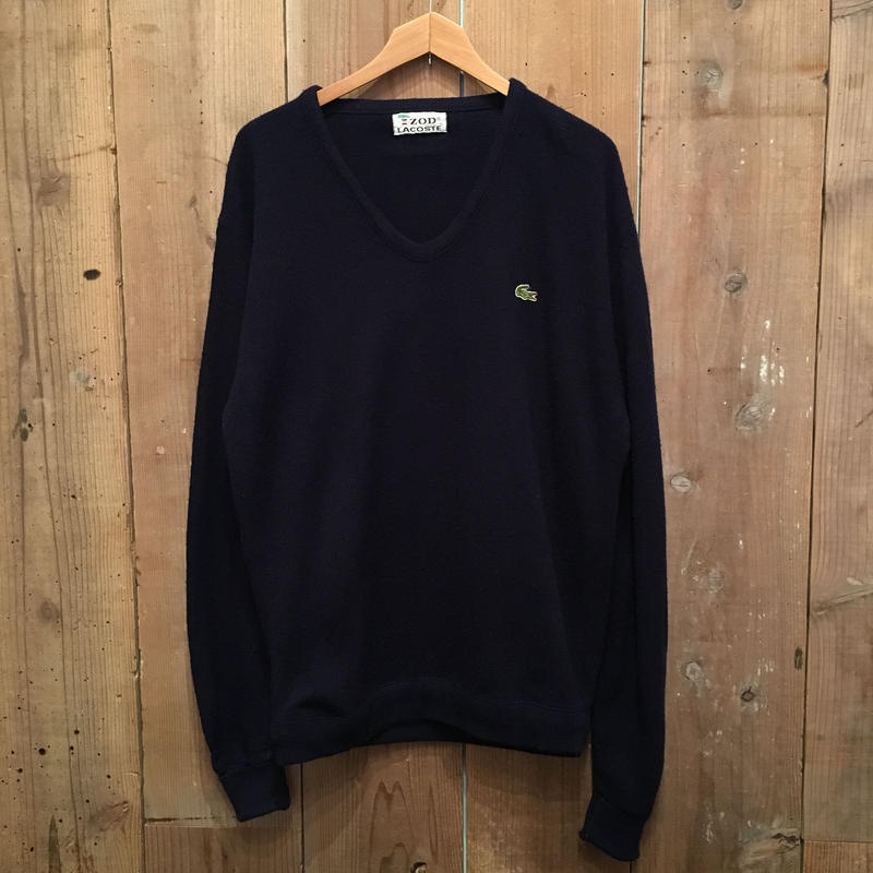 70's IZOD LACOSTE Acrylic Knit U-Neck Sweater NAVY