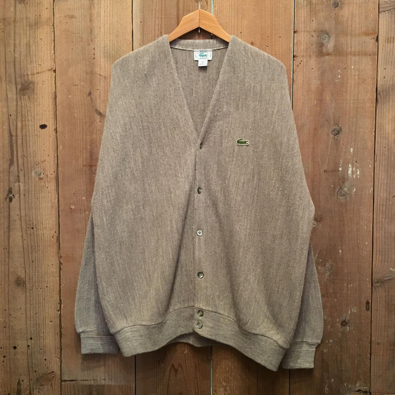 80's IZOD LACOSTE Acrylic Knit Cardigan GRAY BEIGE SIZE : XL