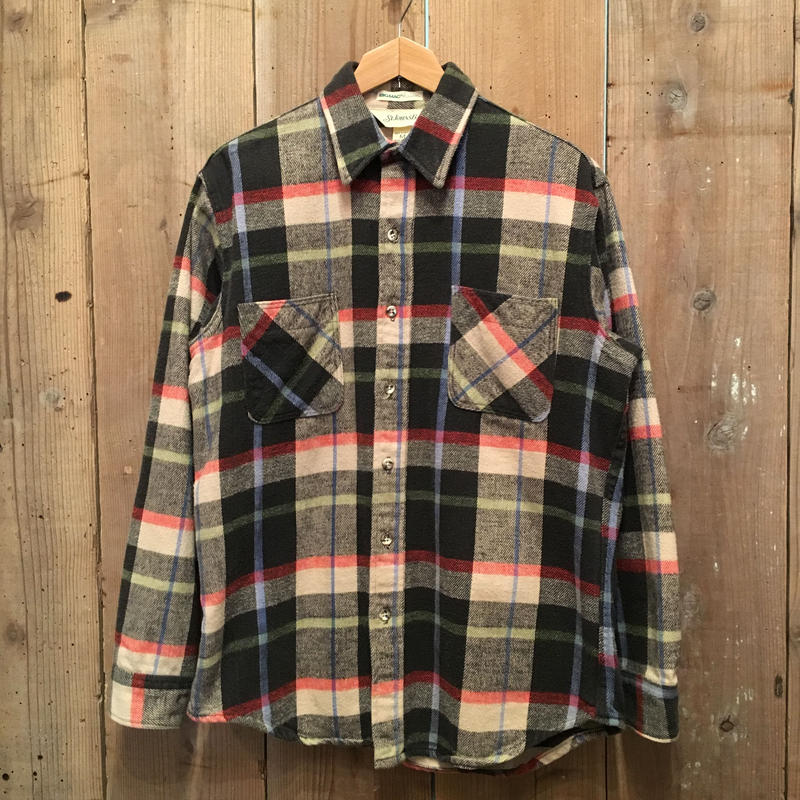 80's ST JOHN'S BAY Heavy Flannel Shirt BLACK×BEIGE