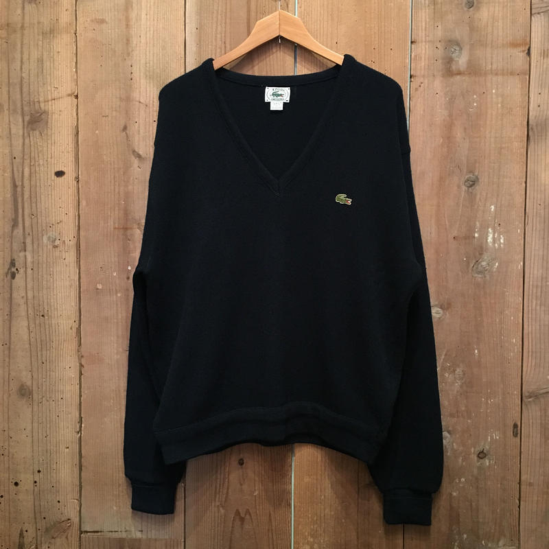 80's IZOD LACOSTE Acrylic Knit V-Neck Sweater NAVY
