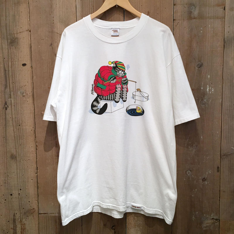 ~90's crazy shirts Fishing Kliban Cat Tee