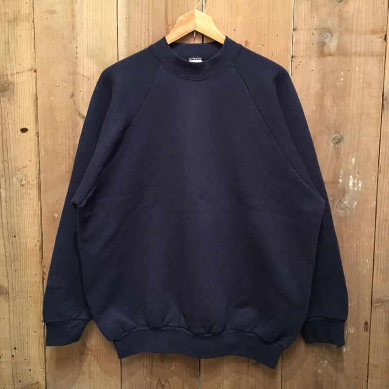 90's FRUIT OF THE LOOM Mid Neck Sweatshirt  NAVY