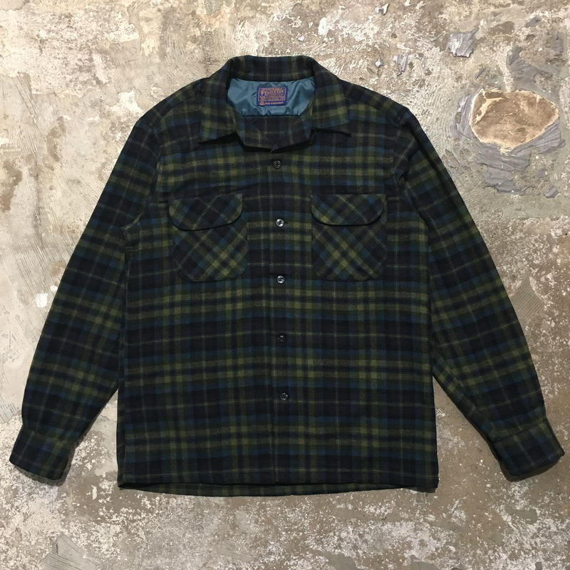 60's PENDLETON Wool Board Shirt NAVY×GREEN×BLUE