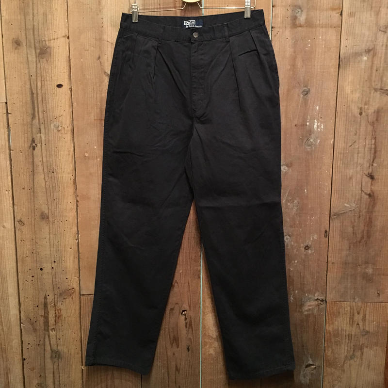 90's Polo Ralph Lauren Two Tuck Chino Pants BLACK  W : 34
