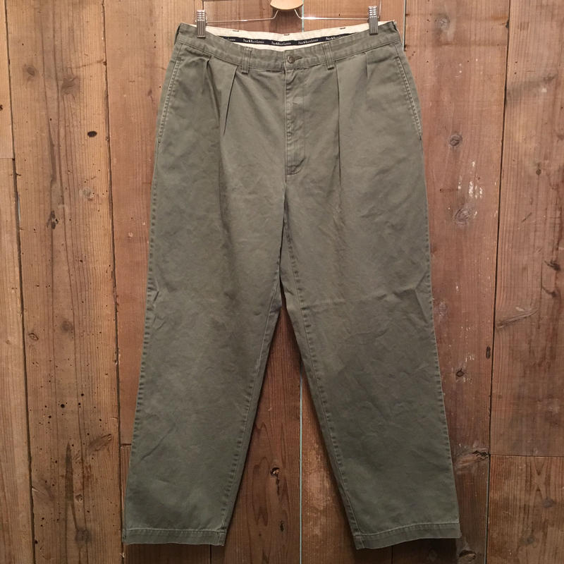90's Polo Ralph Lauren Two Tuck Chino Pants OLIVE GRAY  W : 35