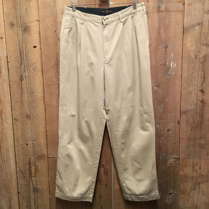 90's TOMMY HILFIGER  Two Tuck Cotton Chino Pants KHAKI W:34