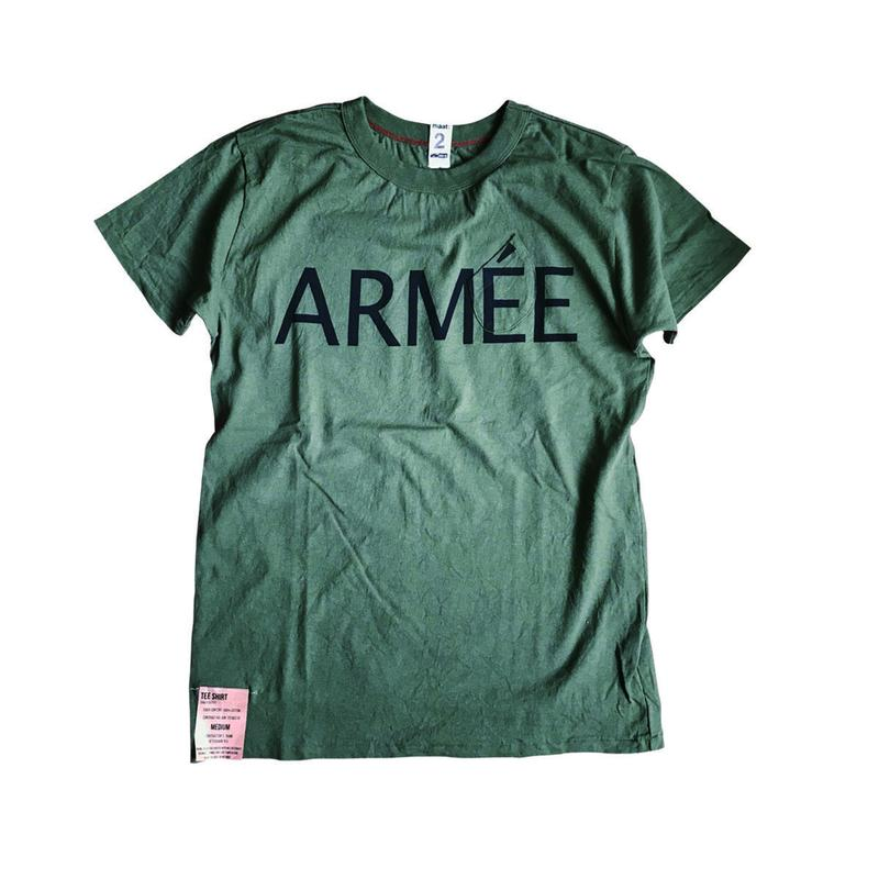 SHORT SLEEVE TEE SHIRT with ARMEE PRINT ARMY COLOUR