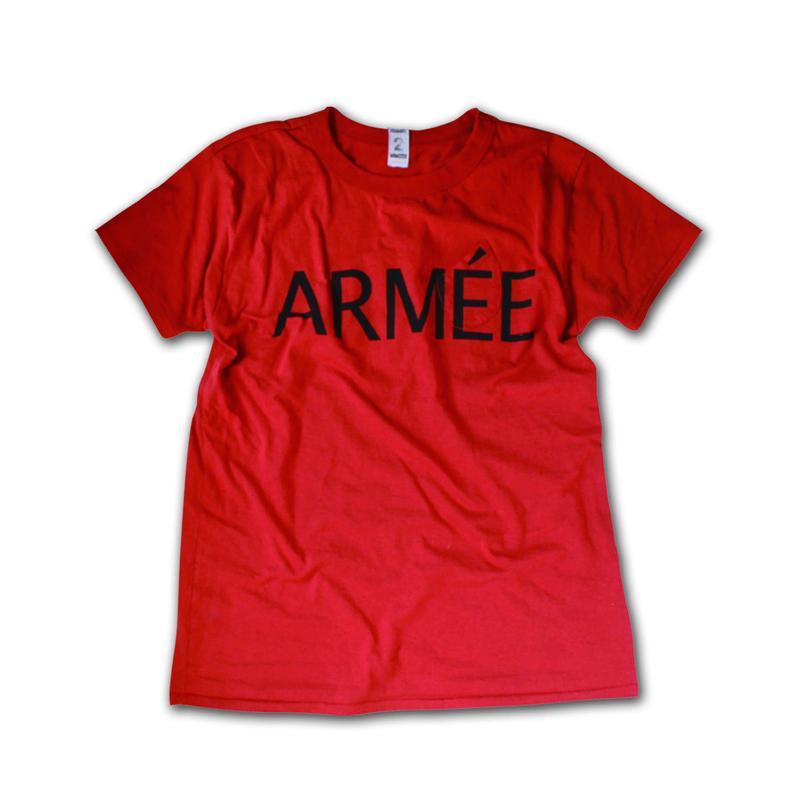 SHORT SLEEVE TEE SHIRT with ARMEE PRINT BRICK COLOUR