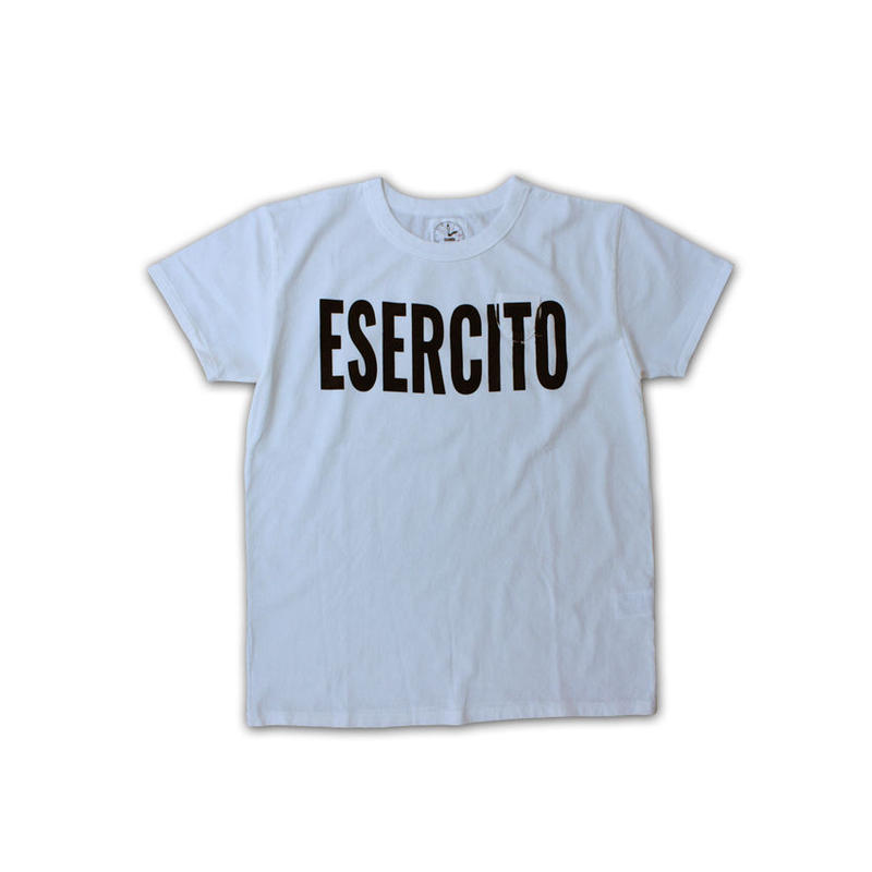 SHORT SLEEVE ESERCITO PRINT TEE SHIRT with SMALL POCKET WHITE