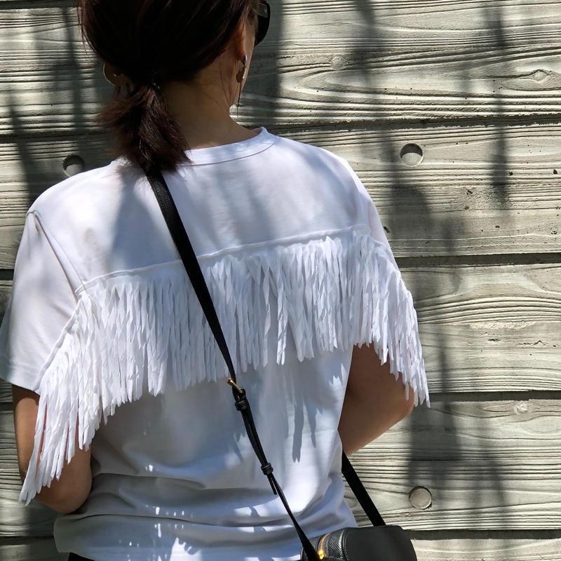 ツイストフリンジ半袖カットソー(ホワイト)