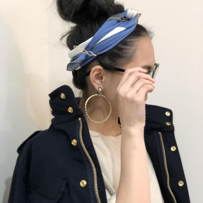 カラー配色スカーフ(ブルー)