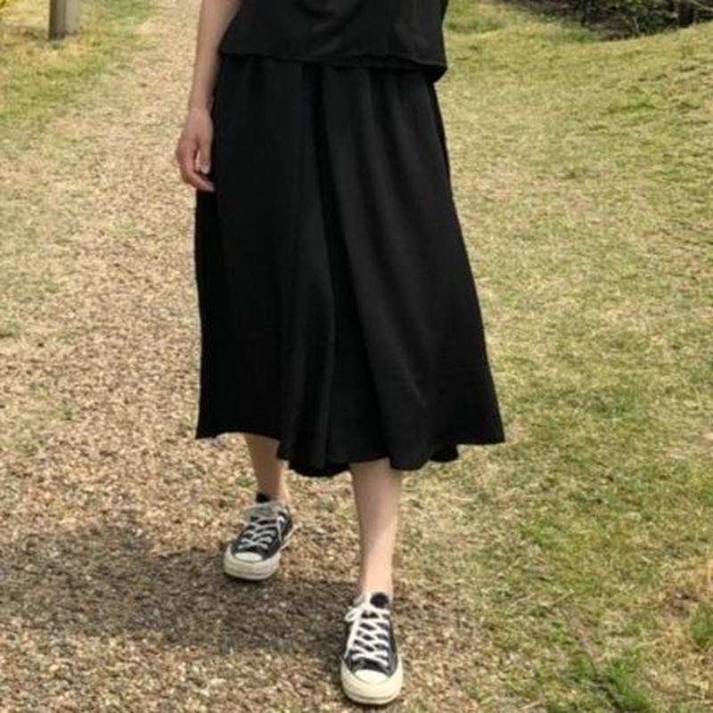 リネンライクハガウチョパンツ(ブラック)