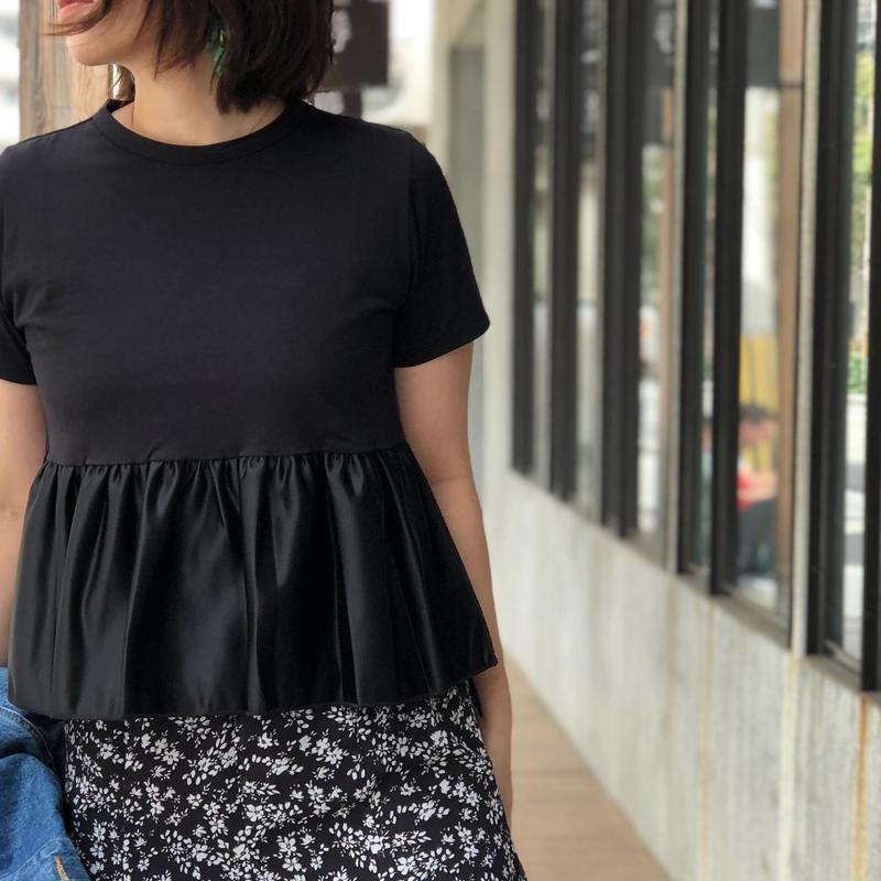 コットンシルクペプラムtシャツ(ブラック)