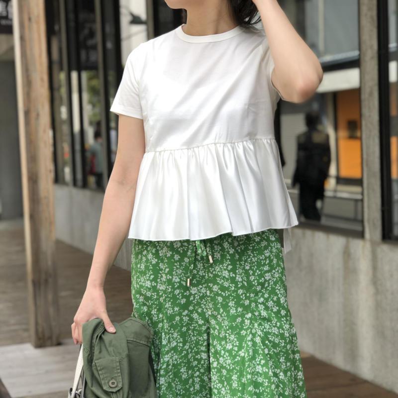 コットンシルクペプラムtシャツ(ホワイト)