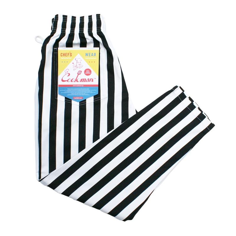 COOK WEAR - Chef Pants「ワイドストライプ」ブラック