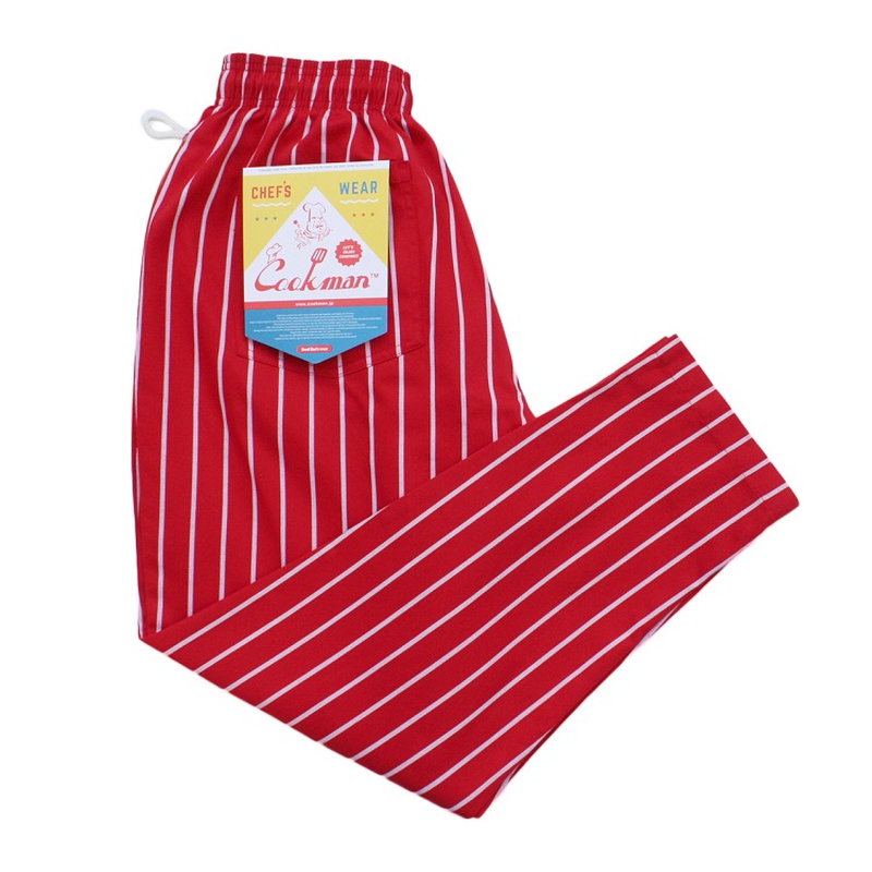 COOK WEAR - Chef Pants 「ストライプ」 レッド