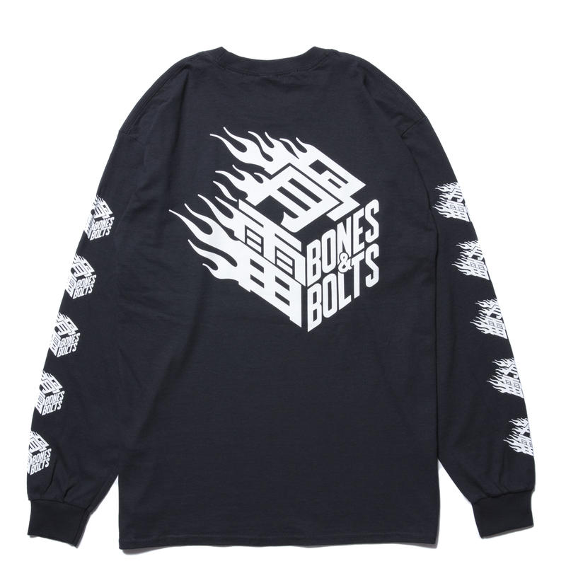 BONES AND BOLTS - L/S TEE (FLAMES BOX LOGO) ブラック