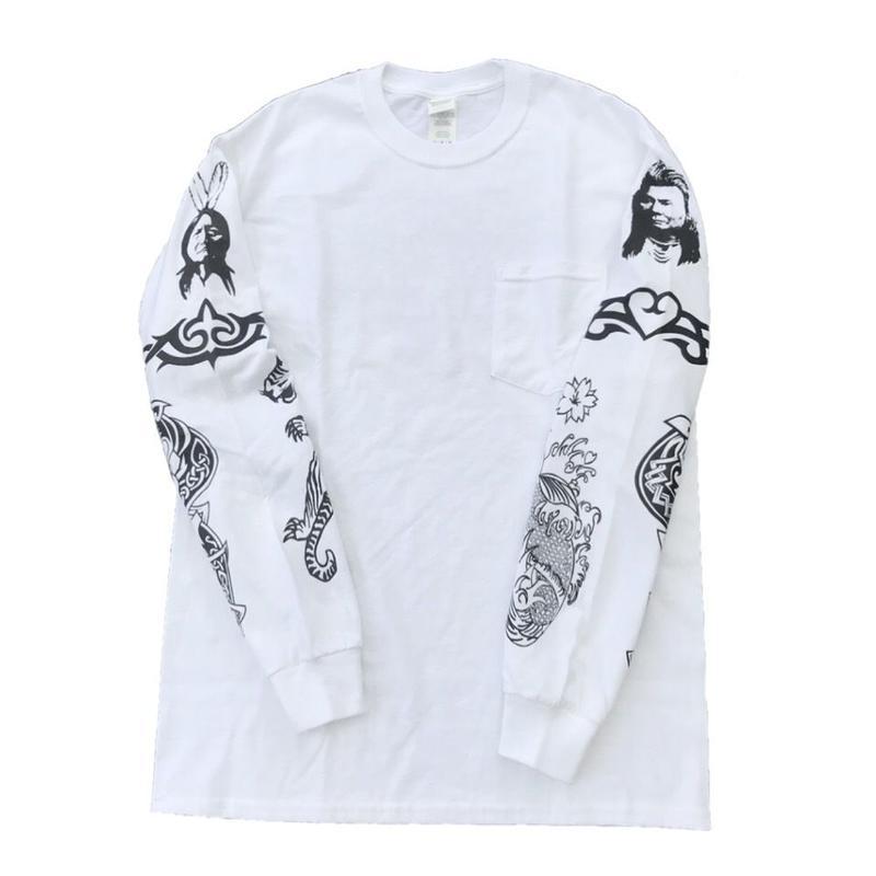 """R.H.C.P - """"アンソニーキーディス Tattoo"""" Tシャツ ポケ付 L/S   (ホワイト)"""