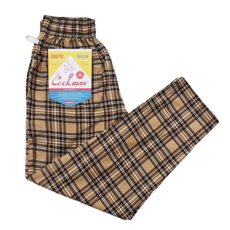 COOK WEAR - Chef Pants 「コーデュロイ タータン」ベージュ