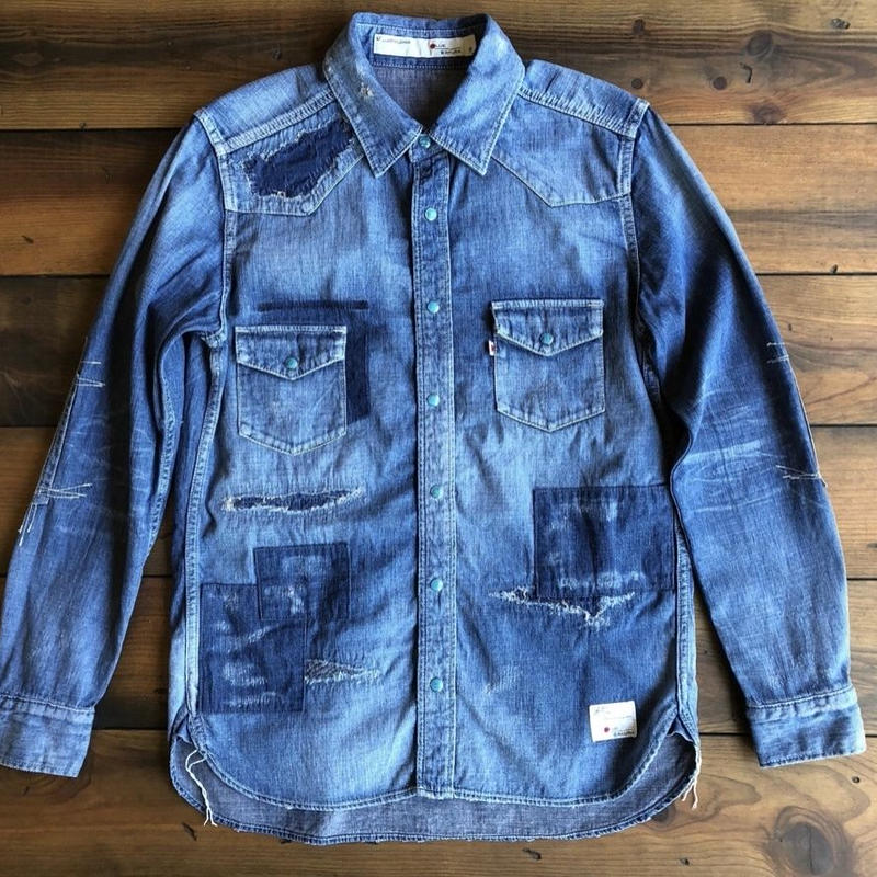 BLUE SAKURA - DENIM SHIRT HARD USED