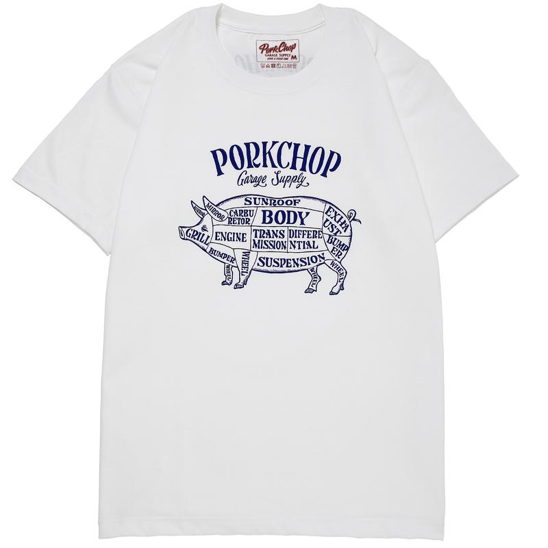 PORKCHOP - PORK FRONT TEE (WHITE×NAVY)