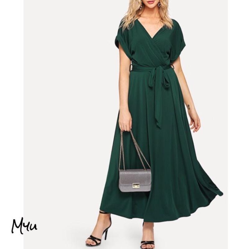 受注発注【Ladies】Rolled sleeve self belted wrap dress