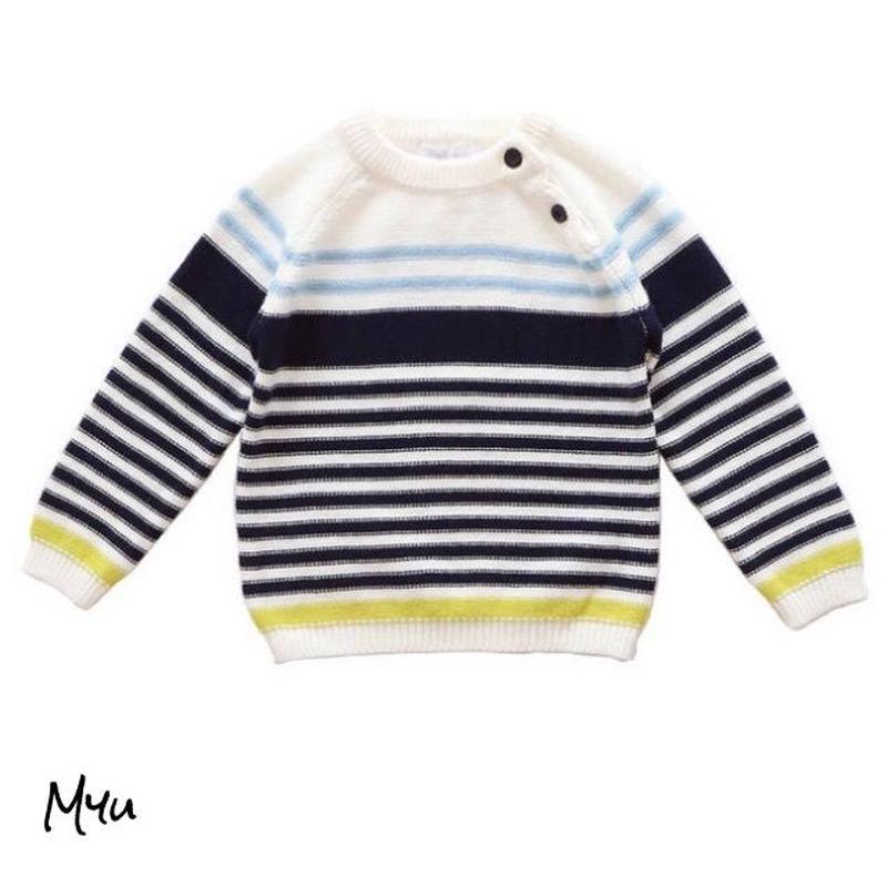 即納【90〜120cm】Pastel color  border knit