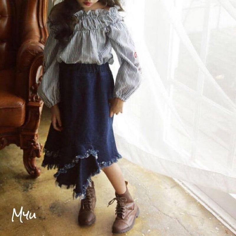 即納【110〜150cm】2way flower embroidery blouse & Fringe denim skirt