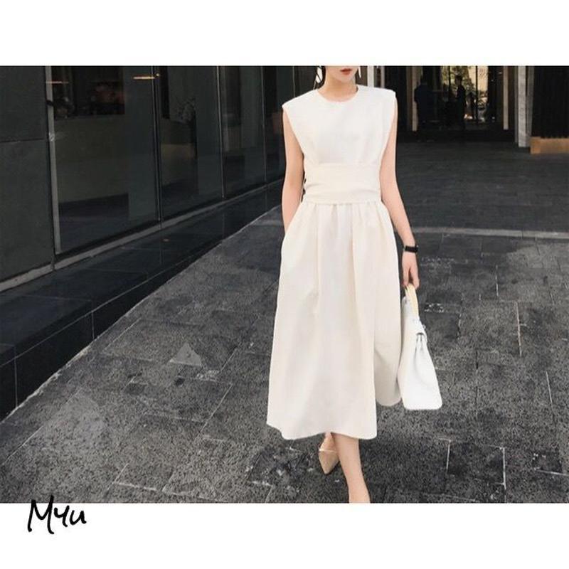即納【Mom】Back gather dress