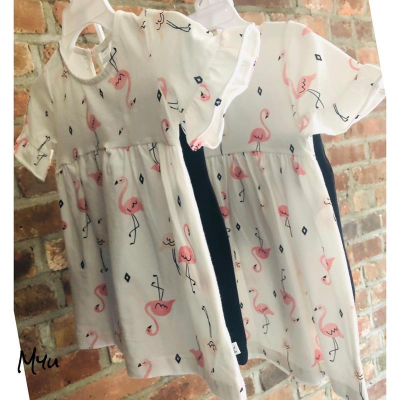即納🇺🇸【80〜90cm】Flamingo flare tunic